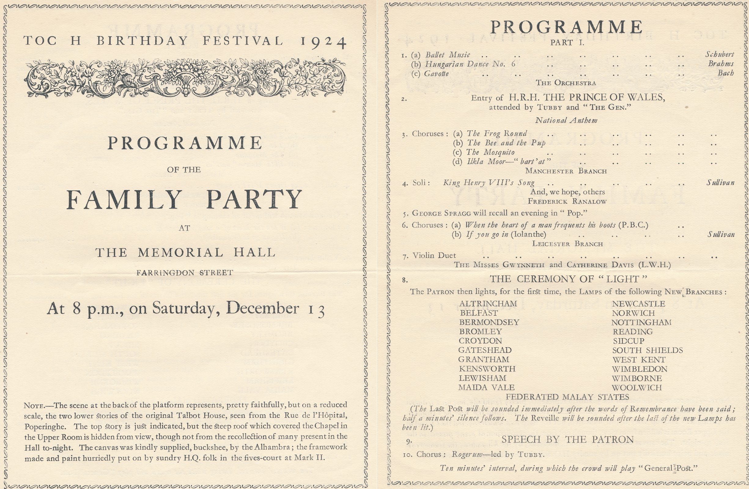 1924 festival Programme