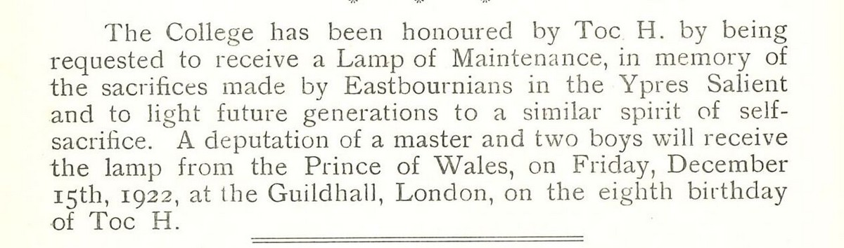 Eastbourne EBN 1922 16 Dec TOC H lamp