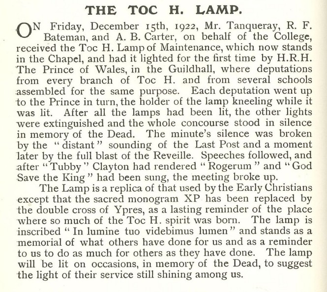 Eastbourne EBN March 31 1923 TOC H lamp